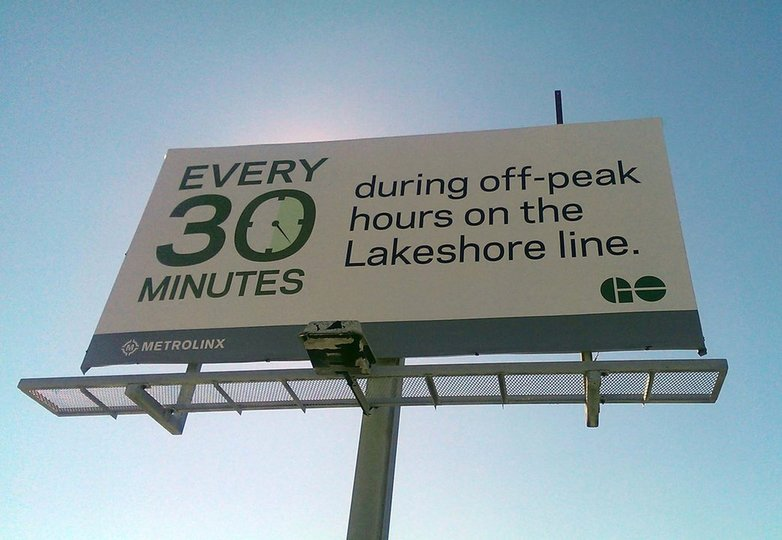 GO transit billboard ad advertising 30 minute service on the Lakeshore line