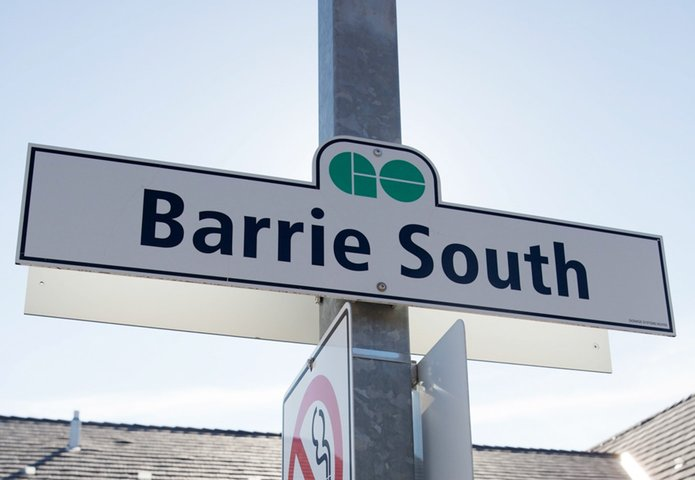 GO transit Barrie south station signage circa 2000s
