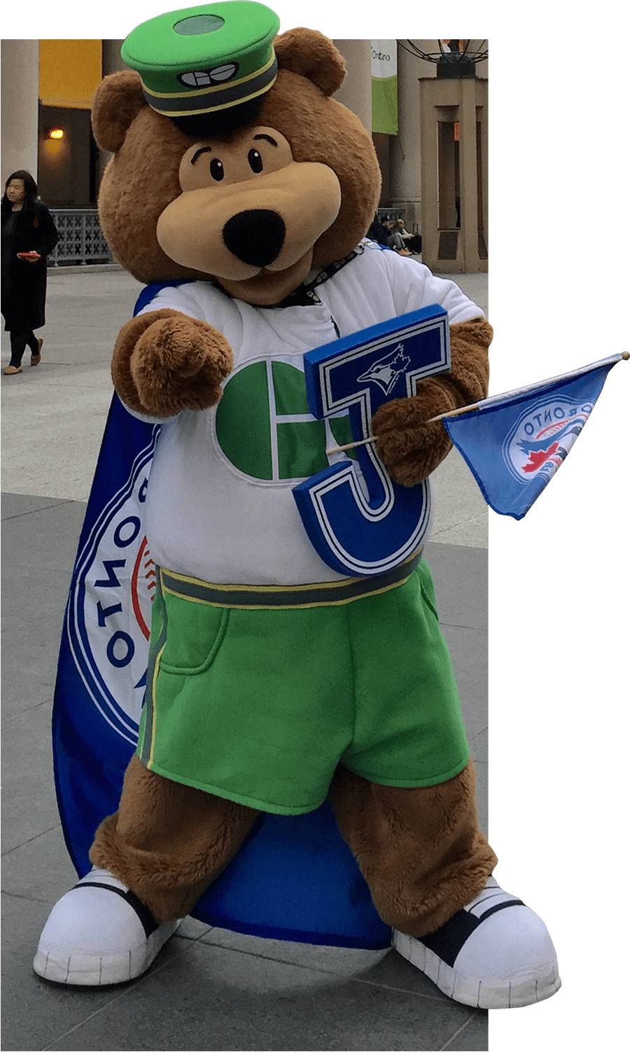 GO transit mascot outside of Union Station