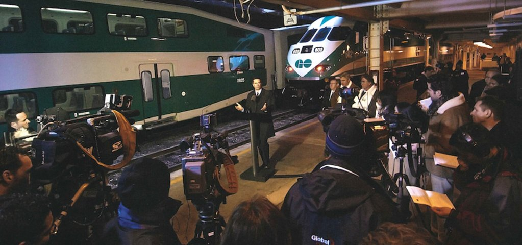 Dalton Mcguinty announcing merger of GO Transit and Metrolinx circa 2009