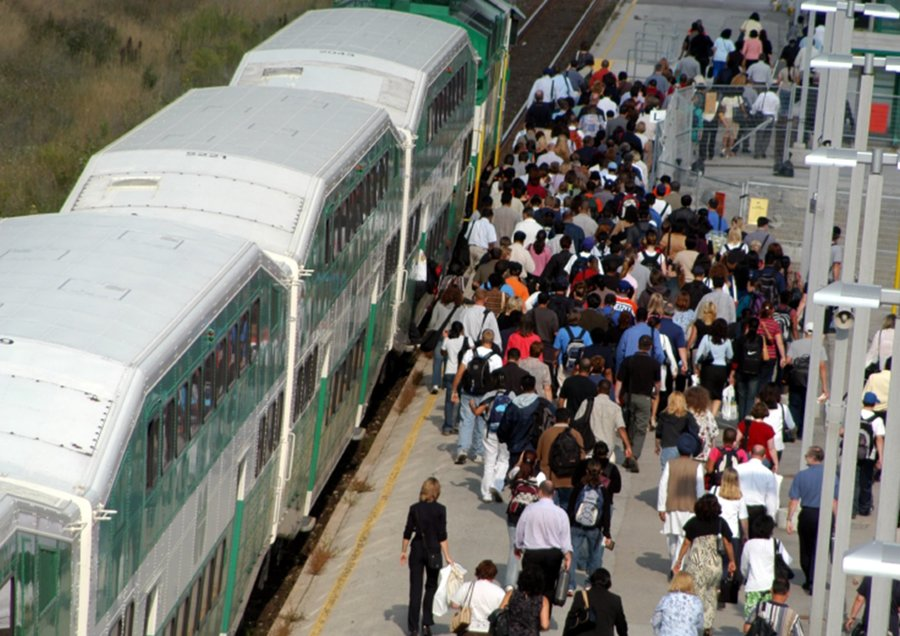 Passengers boarding GO Train circa 2000s