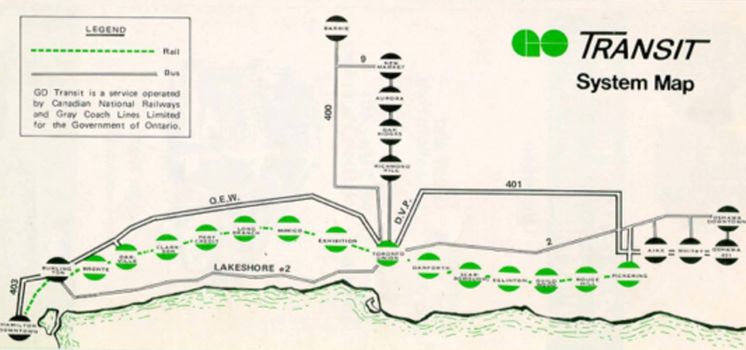 GO Transit 70s map
